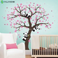 Wholesale Tattoos For Wall - Cute Panda and Cherry Blossom Tree Wall Decal For Nursery Large Tree Wall Stickers For Kids Room Girl Boy Room Wall Tattoo A400
