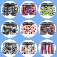 erkek iç çamaşırı çizgi filmleri toptan satış-5 adet / grup Yeni Erkek Iç Çamaşırı Boksörler Geometrik Karikatür Baskılı Iç Çamaşırı Erkekler Boxer Nefes Iç Çamaşırı Erkekler Kılıfı L-XXL