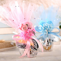 ingrosso cigni scatole di caramelle-Creativo Swan Candy Box stile europeo Bomboniera Sacchetti regalo in plastica Pratico Silk Simulazione Flower Decor Scatole di zucchero Vendita calda 2 48sq YY