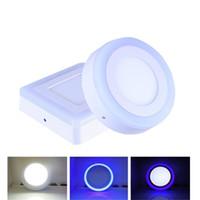 mavi ışık kesici toptan satış-6 W 9 W 16 W 24 W Mavi + Beyaz Yuvarlak / Kare Yok Kesim Çift Renkli LED Panel Işık Yüzeye Monte Downlight Led tavan ışık