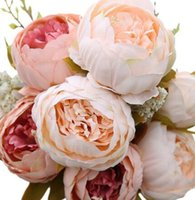 arreglos florales de seda para el hogar. al por mayor-Boda decorativa flor artificial rubor seda peonía flores ramo de flores ramo de peonías para el hogar arreglo de flores de boda