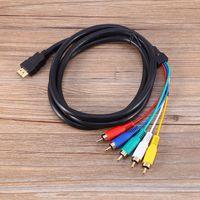 rgb rca adapter großhandel-5FT / 1,5M HDMI Stecker auf 5 RCA Stecker RGB Audio Video AV Adapter Kabel Kabel
