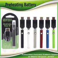 Wholesale Metal Chargers - Preheating VV Battery Charger Kit 350mAh PreHeat Vertex O Pen Bud Touch Function Variable Voltage Vape Battery For CE3 G2 Cartridge