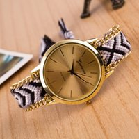 Wholesale friendship watches for sale - Group buy Fashion Braided Friendship Bracelet Geneva Watches Hand Made Women Quartz Watches Relogio Mujer Drop Shipping