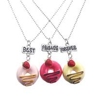 ingrosso pendenti di caramella della resina-Moda Bff Collana Candy Ciambelle Ciondolo in resina Collana BFF per bambini Best Friends Forever Kid Jewelry Gift