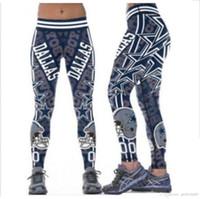 legging оптовых-S-4XL многоцветные женские ножки Далласские ковбои напечатали широкие поясные ремни для фитнеса, штаны для йоги S-4XL