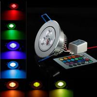 levou luz de teto roxo venda por atacado-O brilho alto 3W conduziu a luz de teto 3w downlight do diodo emissor de luz AC110V-240V RGB / branco / branco morno / verde / vermelho / azul / roxo / Yelllow conduziu o CE RoHS do teto