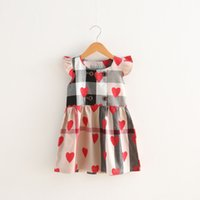 Wholesale baby clothing line online - Baby girls Love Heart Plaid printing dress children lattice Flying sleeves princess dresses summer Boutique kids Clothes colors C3959