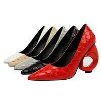 Zapatos Mujer Fake Snakeskin Textura Slip on Bombas Hollow Out Sandalias de  tacón bajo Tobillos de punta poco pronunciadas Zapatos sexy Black Grey  Apricot ... 1f536ce840bf