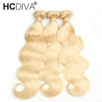 çamaşır suyu sarışın saç örgüsü toptan satış-Bleach Sarışın 613 Bakire Saç Brezilyalı Perulu Hint Malezya Vücut Dalga Virgin İnsan Saç Dokuma 3/4 Demetleri Üst 8A Remy Saç Uzantıları