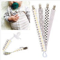 Wholesale Set Fabric - 4pcs set Baby Pacifier Clip Chain Cotton Dummy Holder Chupetas Soother Pacifier Clips Strap Nipple Holder For Infant Feeding