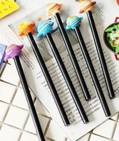 canetas pretas quentes venda por atacado-24 pçs / lote Bonito 3D Cool Planeta projeto gel pen 0.38mm Prémios de tinta Preta presente do Escritório material escolar por atacado