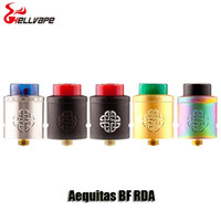 Wholesale Metal Drip Tip Style - 100% Original Hellvape Aequitas BF RDA Atomizer 24mm Diameter Gold Plated Postless Raised Style Deck Tank With 810 Resin Drip Tips