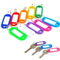 разноцветные карточки оптовых-5 Pcs/set Plastic Key Tags Assorted Key Fobs Rings ID Tags Name Card Label Chain