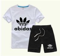 Wholesale Girls Jogging Pants - 2018 summer Brand kids clothes set boys sport suit children short-sleeve T-shirt+shorts pant girls clothing jogging tracksuit