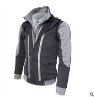Wholesale assassins creed jacket online - High Quality Spring Autumn Hooded Assassin Creed Hoodie Sweatshirt Double Zipper Fake Two Pieces Patchwork Cardigan Hoodie Men Jacket XL