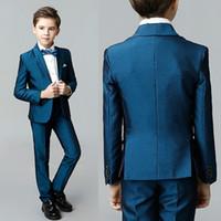 erkek ceketleri toptan satış-Yakışıklı Yüksek Kalite 3 Parça (Ceket + Pantolon + Yelek) Suit Çocuk Düğün Satılık Online Erkek Smokin Takım Elbise
