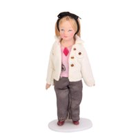 Wholesale miniature christmas toys wholesale - Fashionable Dollhouse Miniature Porcelain Dolls Brown Hair Little Girl in White Coat Christmas Gift Toys for Kid Children Girl