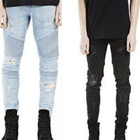 pantalon elástico de bicicleta al por mayor-Pantalones pitillo de jeans para hombre con pantalones elásticos delgados Pantalones de mezclilla Moto Casual Jeans de lujo Ripped Hole Jean para hombres Ropa