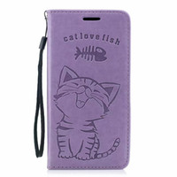 Wholesale cute chinese wallets for sale - Group buy Cute Leather Wallet Case For Iphone XR XS MAX X SE S Galaxy Note S9 Plus S8 Cat Love Fish Eat ID Card Suck Lovely Flip Cover