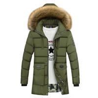 Wholesale black long winter parkas for men resale online - Thicken Warm Winter Duck Down Jacket for Men Fur Collar Parkas Hooded Coat Plus Size Overcoat Western Style