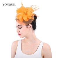 sombreros de iglesia naranja al por mayor-Naranja de calidad superior fascinadores de crinolina sombreros flor accesorios para el cabello para la fiesta de la iglesia de Kentucky derby ascot carreras SYF352