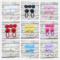 Wholesale Shoe Anklets - Flower Sandals Simulated Pearl Anklets and headband set Newborn Baby Girls Foot Band Toe Rings First Walker Shoes Headband Set KFA41