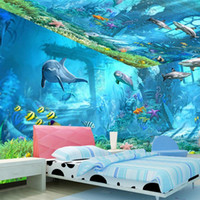 murales de pared bajo el agua para al por mayor-Underwater World Mural 3d Wallpaper Television Kid Niños Habitación Dormitorio Ocean Cartoon Background Sticker de pared Nonwoven Fabric 22dya KK