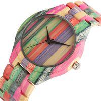 relógio de madeira bracelete venda por atacado-Moda única de Bambu Relógios de Quartzo Dos Homens Pulseira Relógio de Pulso Pulseira Fecho de Exibição Analógica Relógio de Madeira Artesanal Presente para Macho