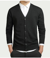 Wholesale clothes chinese style men for sale - Cotton Sweater Men Long Sleeve Cardigan Mens V Neck Sweaters Loose Solid Button Fit Knitting Casual Style Clothing New High Quality New