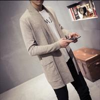 Wholesale cardigan simple - Mens Sweater Spring New Slim Fit Cardigan Men Long Simple Turn Down Collar Casual Sweater Men Plus Size M-5XL