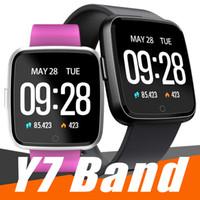 kan oksijen monitörleri toptan satış-Apple iphone için Y7 Akıllı Spor Bilezik Kan Basıncı Oksijen Spor Izci Izle Kalp Hızı Monitörü Bileklik PK Fitbit Versa Iyonik