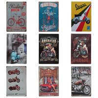 Wholesale galleries art online - Retro Cycling Motorbike Style Tins Poster Vintage Style Iron Painting For Art Gallery Corridor Suspension Parts High Quality cm Z