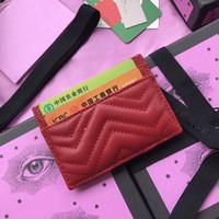geldbörsen großhandel-Top-Qualität Logo Designer Frauen Kartenhalter aus echtem Leder Platz Brieftasche Luxus Leder Geldbörse Kartenhalter für Männer mit Vase Box