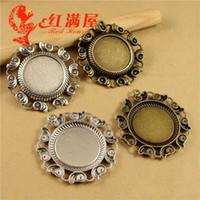 bisel oval da jóia venda por atacado-A3704 A3705 Caber 25 * 18 MM 25 MM Concha DIY acessórios prata tibetano jóias de metal estampadas em branco, antique brone oval bezel bandeja bezel