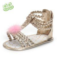 Wholesale weave baby shoes - 2018 Summer baby shoes girls hollow weave soft bottom toddler shoes kids faux fur pompon applique T Bar comfortable prewalker Y4157