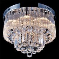 araña de cristal moderna iluminación k9 al por mayor-Moderno K9 Crystal Raindrop Chandelier Lighting Flush mount LED Lámpara de techo Lámpara colgante para comedor Dormitorio con 9 bombillas G9