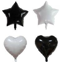 globos de papel en forma de corazón al por mayor-Decoración inflable de la boda Globos metálicos 18 pulgadas en forma de corazón Globo de la hoja Suministros de fiesta Alta calidad Blanco Negro 0 65fj WW