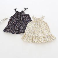 Wholesale little girl suspender style - Girl Clothes summer Suspender girl Dresses Kids Boutique Clothing full little floral print Girls Sleeveless Dresses