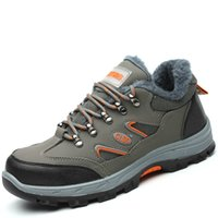 6a02b4bb6 мужские большие размеры стальные носки безопасности работы теплая плюшевая  обувь на мягкой ватной нескользящей мягкой коже зимние снежные меховые  сапоги