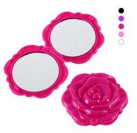 maquillage kosmetik großhandel-Mini Make-up Taschenspiegel Kosmetik Kompakte Spiegel 3D Doppelseitige Hand Beauty Spiegel Stereo Rose Blume Form maquillage Miroir