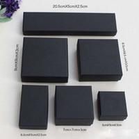 caixas de presente kraft preto venda por atacado-Alta Arquivos Preto Kraft Embalagem De Jóias Pulseira Colar Anel Ear Nail Box Presente de Natal de Ano Novo Personalizar 6 Tamanho