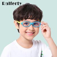 gafas de niños azules al por mayor-Ralferty 2018 Niños Anti-blue Blocking Glasses Square TR90 Computer Glasses Frame Child Boy Girl Anteojos Marcos A005