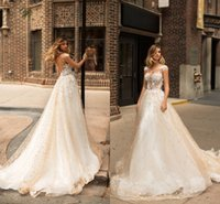 Wholesale milla nova wedding dresses resale online - 2018 Milla Nova New Design Wedding Dresses Lace Pearls Sheer Neck Sexy Cap Sleeves Beads Backless Applique Wedding Bridal Gowns Custom Made