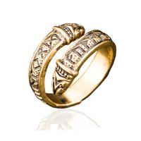 Wholesale Adjustable Snake Rings - New Hot Vintage Adjustable Snake Ring for Men Norse Viking Celtic Rune Dragon Rings Elder Futhark Punk Gothic Amulet Jewelry Christmas Gifts