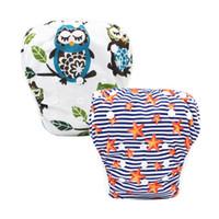 Wholesale gauze swimsuits - 2 Pcs Baby Infant Swim Nappies Reusable Newborn Swimwear Cute Baby Swimsuit Brand Bathing Suit Adjustable Swim Diapers
