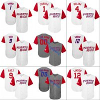 camiseta de béisbol 15 al por mayor-2017 Puerto Rico World Baseball Classic WBC Jersey 1 Carlos Correa 4 Yadier Molina 9 Javier Báez 15 Carlos Beltr Camisetas de béisbol