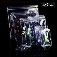 küçük paketleme torbaları toptan satış-4x6 cm 100 Parça için Küçük Temizle PVC Anti-Oksidasyon Zip Kilit Ambalaj Çanta Küpe Açılıp Kapanabilir Takı Yapma Malzemeleri Organziers Tutucu