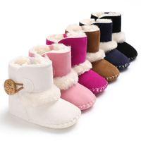 zapatos de bota de ganchillo al por mayor-Cute Kids Baby Girl Boys Botas de nieve antideslizante de invierno Cálido piel Crochet Boots Botines Newborn Infantil Soft Sole Mocassins Zapatos