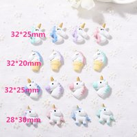 Wholesale Making Resin Beads - Wholesales 5 Styles Resin Unicorn Cartoon Necklaces Pendants with Sliver Hook 1pc for Making BBF Best Friends Loose Beads